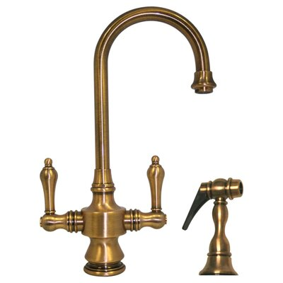 Vintage III Single Hole or Dual Handle Entertainment or Prep Faucet with Lever Handles and Side Spray Finish: Antique Brass