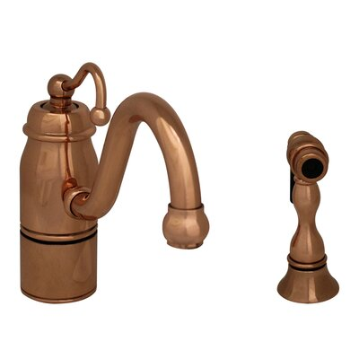 Beluga One Handle Single Hole Kitchen Faucet with Curved Handle and Side Spray Finish: Polished Copper
