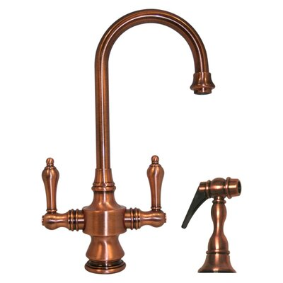 Vintage III Single Hole or Dual Handle Entertainment or Prep Faucet with Lever Handles and Side Spray Finish: Antique Copper
