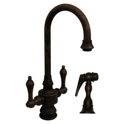 Vintage III Single Hole or Dual Handle Entertainment or Prep Faucet with Lever Handles and Side Spray Finish: Mahogany Bronze