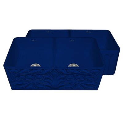 Gothichaus 33 x 18 Reversible Double Bowl Fireclay Kitchen Sink Finish: Sapphire Blue