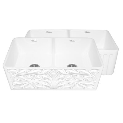 Gothichaus 33 x 18 Reversible Double Bowl Fireclay Kitchen Sink Finish: White