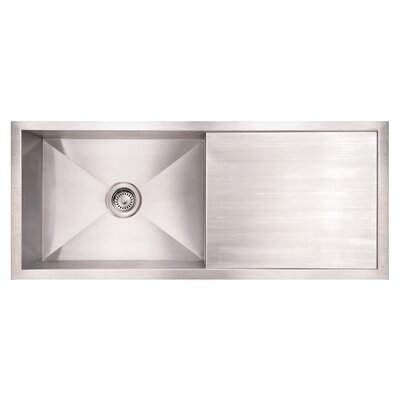 Noahs 39.5 x 18.75 Commercial Single Bowl Undermount Kitchen Sink with Drain Board