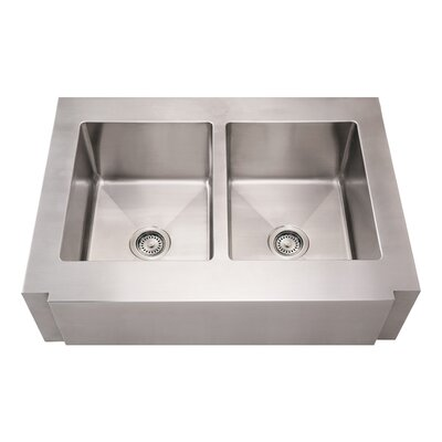 Noahs 36 x 26.25 Commercial Double Bowl Farmhouse Undermount Kitchen Sink