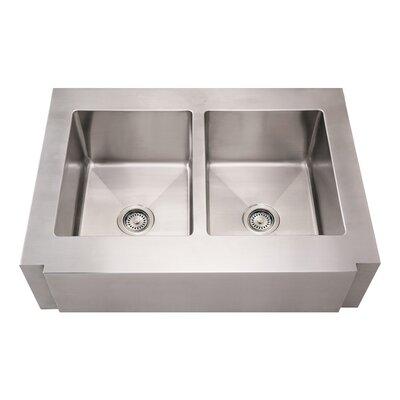 Noahs 36 x 26.25 Commercial Double Bowl Farmhouse Undermount Kitchen Sink