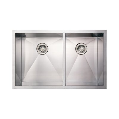 Noahs 33 x 20 Commercial Double Bowl Undermount Kitchen Sink