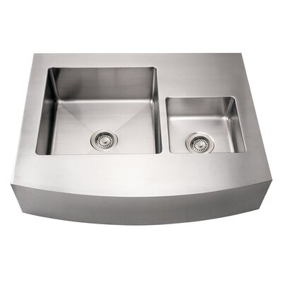 Noahs 36 x 29 Commercial Double Bowl Farmhouse Undermount Kitchen Sink