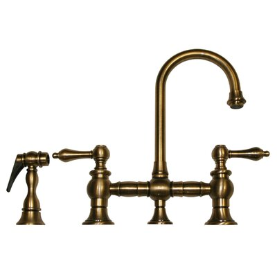 Vintage III 5.25 Two Handle Widespread Kitchen Faucet with Lever Handles and Side Spray Finish: Antique Brass