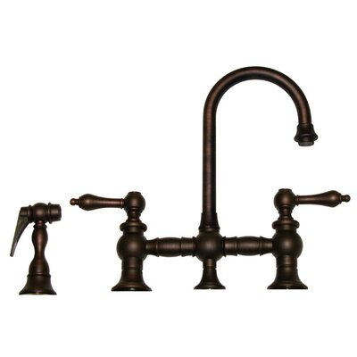 Vintage III 5.25 Two Handle Widespread Kitchen Faucet with Lever Handles and Side Spray Finish: Mahogany Bronze