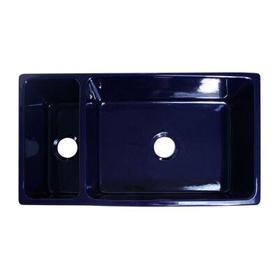 Quatro Alcove 36 x 20 Reversible Bowl and Half Fireclay Kitchen Sink Finish: Sapphire Blue