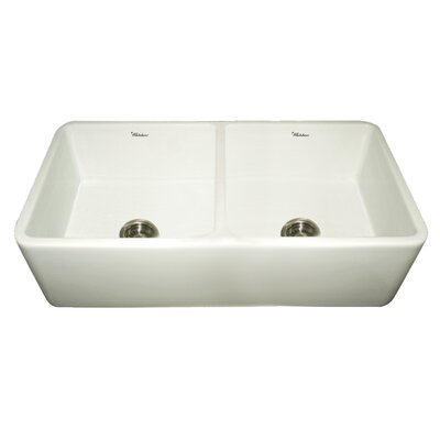 Farmhaus Fireclay Duet Reversible Double Bowl Kitchen Sink Finish: Biscuit