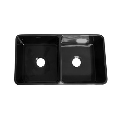 Farmhaus Fireclay Duet Reversible Double Bowl Kitchen Sink Finish: Black