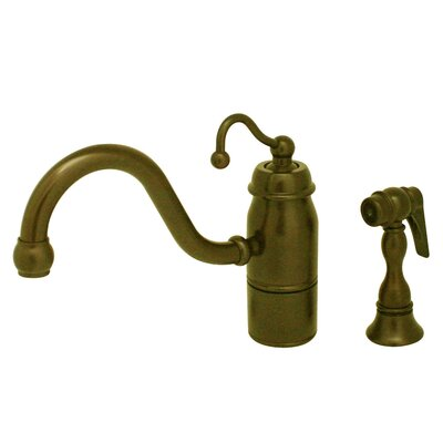 Beluga One Handle Single Hole Kitchen Faucet with Curved Handle and Side Spray Finish: Antique Brass