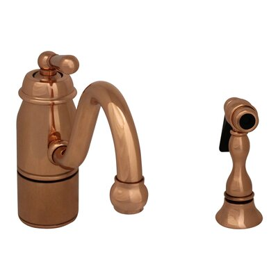Beluga One Handle Single Hole Kitchen Faucet with Straight Handle and Side Spray Finish: Polished Copper