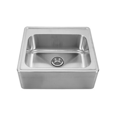 Noahs 25 x 22 Front - Apron Single Bowl Drop In Kitchen Sink Faucet Drillings: C, A, B, D: Four Hole
