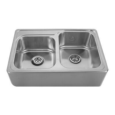 Noahs 33 x 22 Front - Apron 60/40 Bowl Drop In Kitchen Sink Faucet Drillings: C: One Hole - 4 Left of A