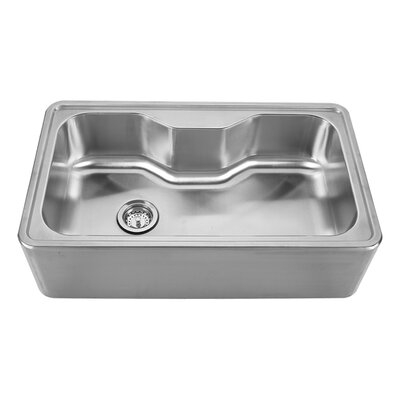 Noahs 33.5 x 19.75 Front - Apron Single Bowl Drop In Kitchen Sink Faucet Drillings: A: One Hole - Center