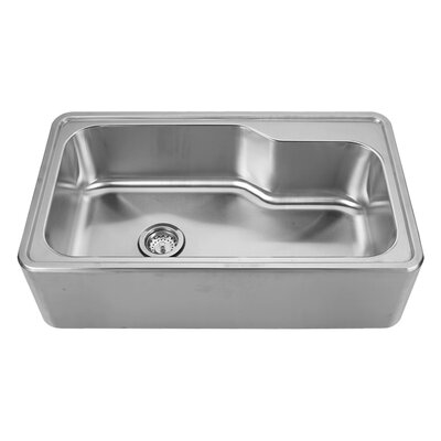 Noahs 33.5 x 19.75 Front - Apron Single Bowl Drop In Kitchen Sink Faucet Drillings: C, A: Two Hole
