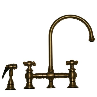 Vintage III Two Handle Widespread Kitchen Faucet with Gooseneck Swivel Spout, Cross Handles and Side Spray Finish: Antique Brass