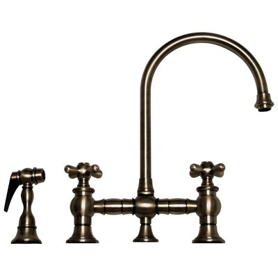 Vintage III Two Handle Widespread Kitchen Faucet with Gooseneck Swivel Spout, Cross Handles and Side Spray Finish: Pewter