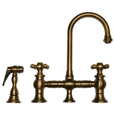 Vintage III 5.25 Two Handle Widespread Kitchen Faucet with Cross Handles and Side Spray Finish: Antique Brass