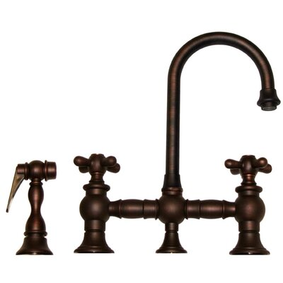 Vintage III 5.25 Two Handle Widespread Kitchen Faucet with Cross Handles and Side Spray Finish: Mahogany Bronze