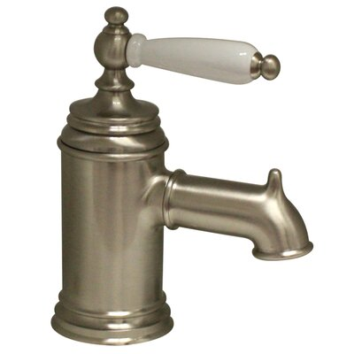 Fountainhaus Pump Single Hole and Single Lever Bathroom Sink Faucet with Porcelain Handle Finish: Brushed Nickel