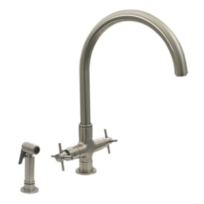 Luxe+ Double Handle Faucet with Gooseneck Swivel Spout Finish: Brushed Nickel