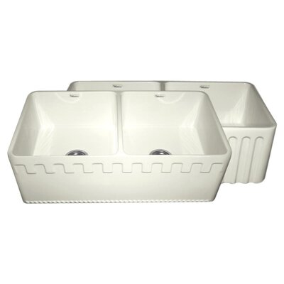Reversible 33 x 18 Double Bowl Fireclay Kitchen Sink Finish: Biscuit
