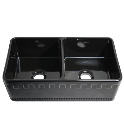 Reversible 33 x 18 Double Bowl Fireclay Kitchen Sink Finish: Black