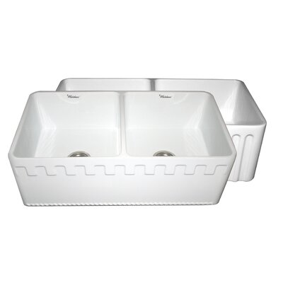 Reversible 33 x 18 Double Bowl Fireclay Kitchen Sink Finish: White