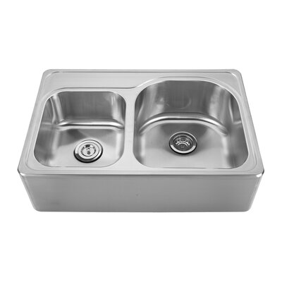 Noahs 33 x 22 Front - Apron 40/60 Bowl Drop In Kitchen Sink Faucet Drillings: C, A, B, D: Four Hole