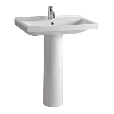 China 23.5 Pedestal Bathroom Sink with Overflow