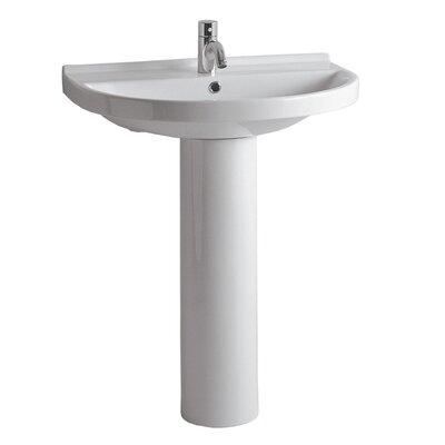 China Ceramic 28 Pedestal Bathroom Sink with Overflow
