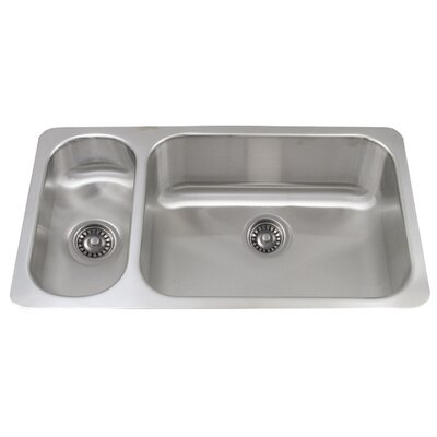 Noahs 32.25 x 18.25 Stainless Steel Double Bowl Undermount Kitchen Sink
