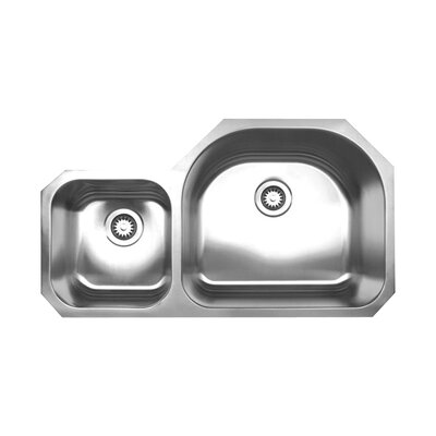 Noahs 37 x 20.88 Chefhaus Double Bowl Undermount Kitchen Sink