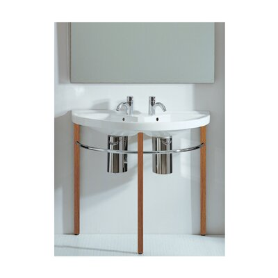 China Series Vitreous China 38 Wall Mount Bathroom Sink with Overflow