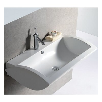 Isabella Ceramic 32 Wall Mount Bathroom Sink with Overflow