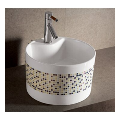 Isabella Decorative Tile Circular Vessel Bathroom Sink