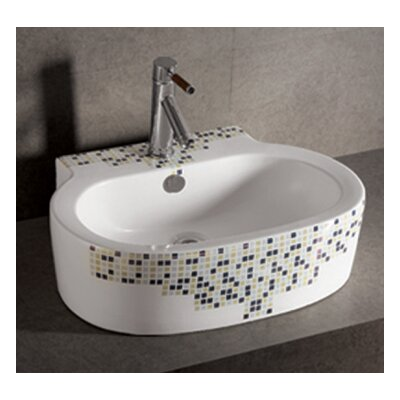 Isabella Decorative Tile Oval Vessel Bathroom Sink with Overflow