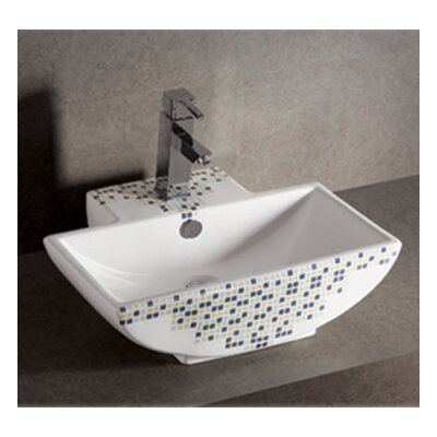 Isabella Decorative Tile Rectangular Vessel Bathroom Sink with Overflow