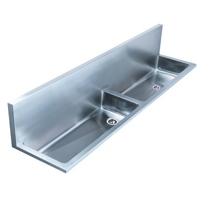 Noahs 72 x 17 Double Bowl Wall Mount Utility Sink