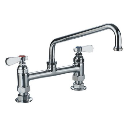 Laundry Double Handle Utility Bridge Faucet with Swivel Spout