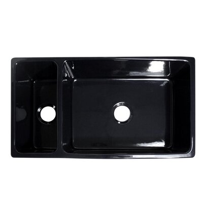 Quatro Alcove 36 x 20 Reversible Bowl and Half Fireclay Kitchen Sink Finish: Black
