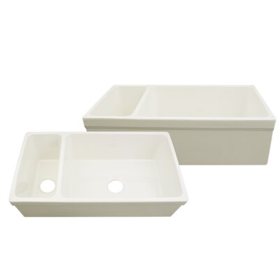 Quatro Alcove 36 x 20 Reversible Bowl and Half Fireclay Kitchen Sink Finish: Biscuit