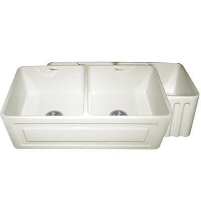 Reversible 33 x 18 Fireclay Kitchen Sink Finish: White