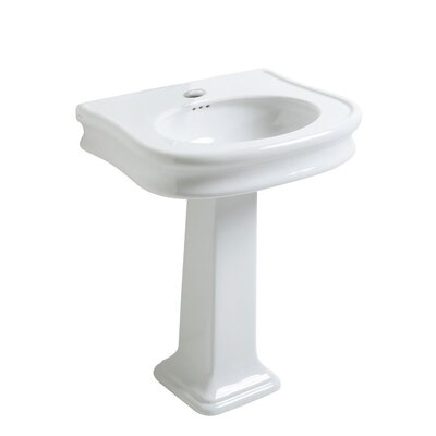 China Series Vitreous China 34 Pedestal Bathroom Sink with Overflow