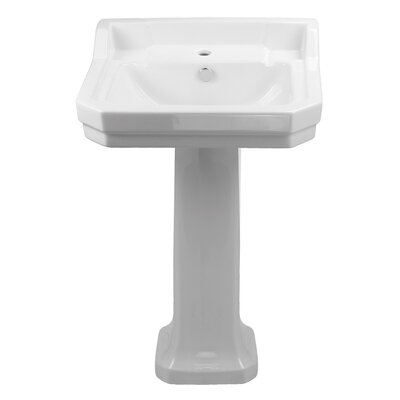 China Series Vitreous China 35 Pedestal Bathroom Sink with Overflow Sink Finish: White
