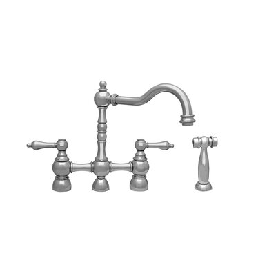 Englishhaus Double Handle Deck Mounted Kitchen Faucet with Side Spray Finish: Polished Nickel
