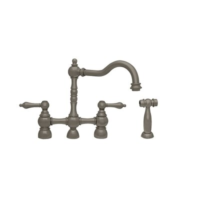 Englishhaus Double Handle Deck Mounted Kitchen Faucet with Side Spray Finish: Brushed Nickel